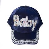Кепка - BABY, с жемчугом и камешками синий атлас 0030