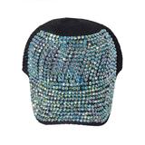 Кепка -вязанная крючком , с камнями чёрный хлопок 0028