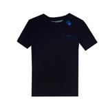Футболка (92-164)-синяя надпись и большой синий логотип на спине чёрный хлопок 3600
