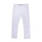 Брюки (116-172)- узкие,с отстрочкой на карманах,с вышивкой на поясе белый хлопок 739144-1100