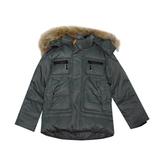 Куртка (104-146) - с капюшоном, с четырмя карманами на замке серо-зеленый синтепух 551