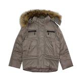 Куртка (122-146) - с капюшоном, с четырмя карманами на замке серо-бежевый синтепух 551