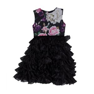 Платье (116-128)- верх розы, низ-многоярусный из чёрного капрона чёрный 1 919519-Р