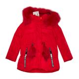 Куртка (92-116) - с капюшоном и двумя карманами на замке, пояс с красным пушком красный синтепух 0532