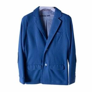Пиджак (116-172)-трикотажный,  на 2х пуговицах, на локтях латки голубой хлопок 739122-2453
