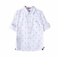 Рубашка (116-152)- д.р,осьминожки,латки на рукавах,с подворотом белый хлопок 739357-9278