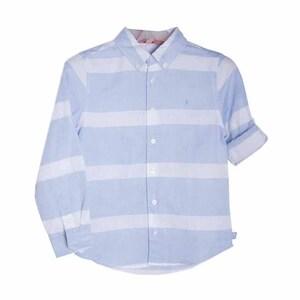 Рубашка (116-172)- д.р,крупная полоса ,латки на рукавах, рукав с подворотом голубой лён 739256-9235