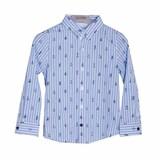 Рубашка (92-116)-рукав с подворотом, полоска,с корабликами голубой хлопок 719175-9222