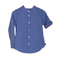 Рубашка (92-116)-рукав с подворотом,воротник стойка, крупная полоса голубой лён 719243-9223