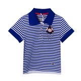 Поло (104-150) - полоска, брошка-якорь синий/белый хлопок 13134-E