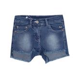 Шорты джинсовые (98-130) удлиненные с зади, сердечко над карманом синий 181482