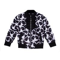 Бомбер (98-122) - стеганный на молнии, верх застежки отделан черными оборками, принт панда, черный 319626-E