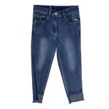 Джинсы (98-130) обрезаные снизу, с сердечком над карманом синий 181483