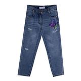 Джинсы (110-122)- Ирисы-вышивка , дранки синий 1 320119-С