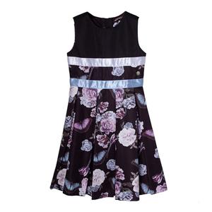 Платье (122-162)-розы с бабочками,белая и голубая атласная лента, юбка втречная складка чёрный атлас 318211-Н
