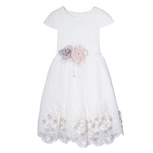 Платье (6-10) - 2 объемных цветка на поясе из жемчужин и страз, юбка сетка, вышивка по низу с цветочками белый 1 20423