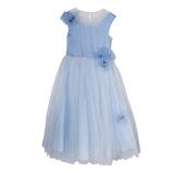 Платье (6-10)-без рукава, верх голубой, низ- нежно-голубая сетка с большими цветами голубой 1 20475