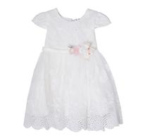 Платье (1-4)-верх -вышивка из белых цветочков со стразиками, рукав крылышко , розочки на поясе, низ-сетка с вышивкой и кружевом белый 1 8761