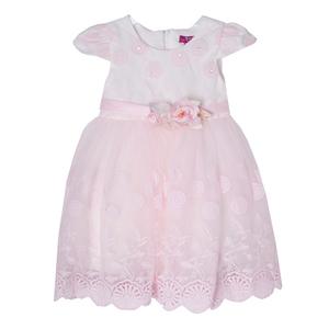 Платье (1-4)-верх -вышивка из розовых цветочков со стразиками, рукав крылышко , розочки на поясе, низ-сетка с вышивкой и кружевом розовый 1 8761