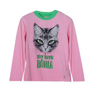 Кофта (98-122) - д/р, принт кошка и надпись со стразами розовый 319500-А