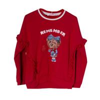 Кофта (98-130)- Мишка с бантиком и сердечком из паеток, рюша по бокам красный 681914