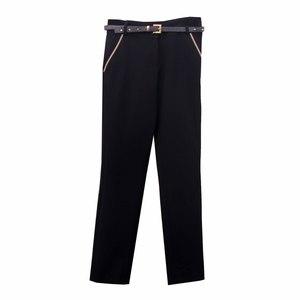 Школьная форма Брюки (5-18) -  классика, нашиты задние карманы, с декоративной отделкой на карманах и синем ремнем синий габардин 50245
