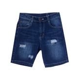 Шорты джинсовые (122-154)-с заплатками и потёртостями синий 110728