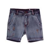 Шорты джинсовые (98-130)-с оранжевой строчкой и царапками,вываренные синий 110724