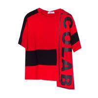 Футболка (130-160)-ассиметрия,с чёрными поломами и черной надписью COLABER красный 610676