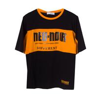 Футболка (130-160)-с оранжевой широкой полосой и чёрной надписью чёрный 610709