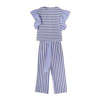 Комплект (130-160)-блуза-рукав крылышко +брюки,широкая полоска, на поясе синий 184592/184593А