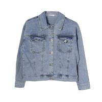Джинсовая куртка (130-160)-вываренная,с бахромой из цепочек синий 184577