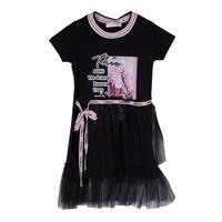 Платье (98-130)-короткий рукав ,рисунок кроссовки,юбка многоярусная сетка,трикотаж чёрный 683038