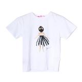 Футболка (3-11)- куколка в чёрно/белом полосатом платье белый 768327