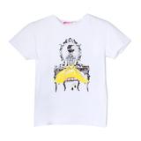 Футболка (13-21)-девушка в камешках у зеркала белый/жёлтый 768315