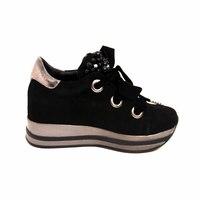 Ботинки (36-40)-на толстой серебристой подошве, с чёрными велюровыми шнурками и чёрными шариками чёрный замшевая  Кожа 044