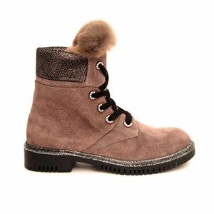 Ботинки (36-40)-на меху, подошва с серебристым  напылением,язычок с мехом светлокоричневый замша 18-5154-151-10