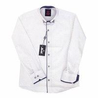 Рубашка (6-18)-д/р, мелкая снежинка, двойной воротник с синей отделкой и пуговкой,по планке синий кантик белый с синим хлопок 1072-1