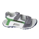 Сандалии (37-40) - на двух липучках,замшевые вставки зеленые/серый кожа 193-329