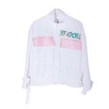 Ветровка (8-15)-с 3Д надписью, большими карманами, сзади капроновый рюкзак на застежках белый 1 20026