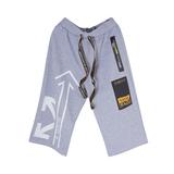 Шорты (8-15)-с белым принтом, карманом на потайной молнии и черной вставкой с надписями серый 20207