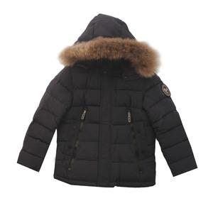 Куртка (116-140) - с чёрными замками, 2 кармана , капюшён с мехом синий биопух 8079