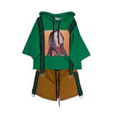 Комплект (8-15)-футболка с капюшёном и полосатыми чёрно/зелёными лентами с кольцами +шорты с лампасами зелёный/горчичный 20080