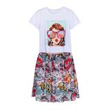 Комплект (8-15)-футболка с девушкой+юбка на розовой резинке -принт-комиксы белый/пудра 20051