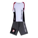 Комплект (8-15)-футболка с красными и чёрными вставками +шорты с чёрным карманом и красной эмблемой белый/серый 20079/20229