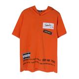 Футболка (8-15)-c надписью на капюшёне,наклейками в виде нашивок оранжевый хлопок 20217