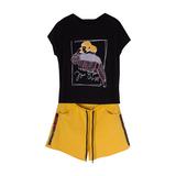 Комплект (8-15)-футболка с девочкой-куртка из цветных камешков +шорты с лампасами из камешков жёлтый/чёрный 20081