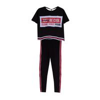 Костюм (8-15)-футболка укороченная на цветной  резинке спереди+лосины на резинке с лампасами красный/чёрный 20066/20067