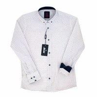 Школьная форма Рубашка (6-14)-д/р,мелкий цветочек с бордовой точечкой,на воротнике пуговички белый хлопок 1060-1