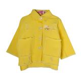Куртка джинсовая (3-11)-рванка, низ бахрома, спинка апликация-девушка в жёлтой кепке жёлтый хлопок 783564